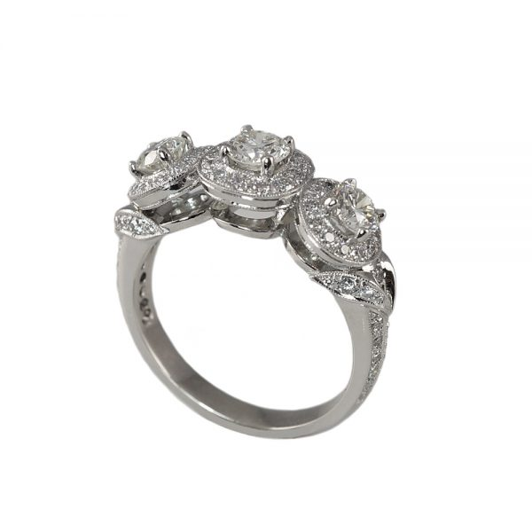 Alexandra Three-Stone Diamond Halo Engagement Ring-1698