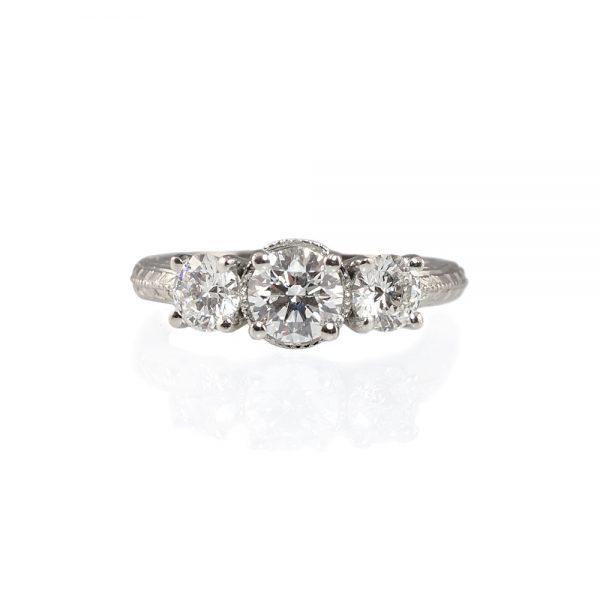 Alyssa Three-Stone Platinum Engagement Ring-0