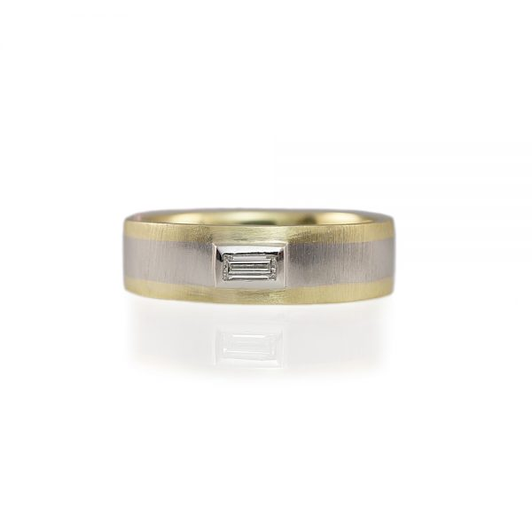 Chris Two-Tone Men's Diamond Wedding Band-0