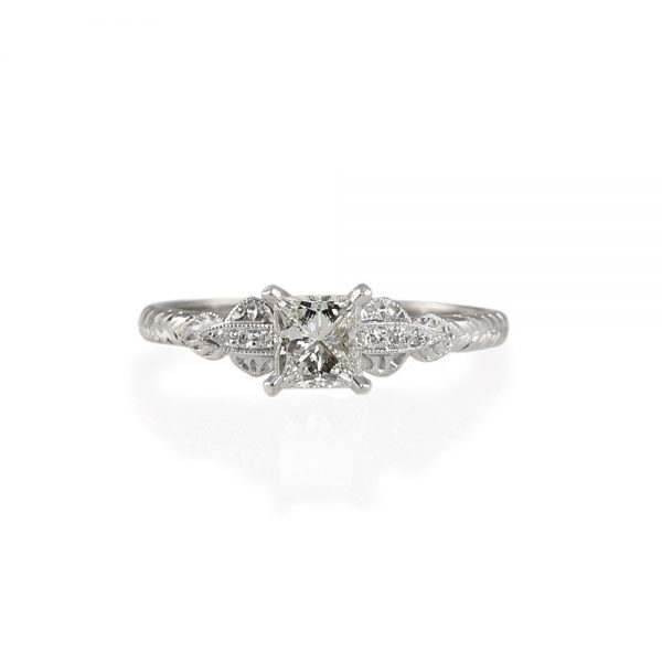 Anja Princess Cut Diamond Engagement Ring With Engraving-0
