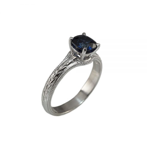 Catie Sapphire Solitaire Engraved Engagement Ring-1701