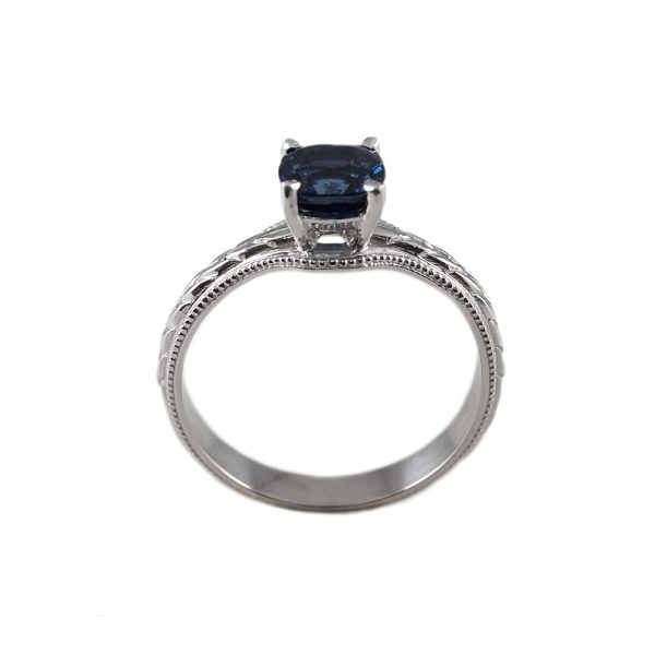 Catie Sapphire Solitaire Engraved Engagement Ring-1700
