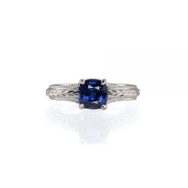 Catie Sapphire Solitaire Engraved Engagement Ring-0