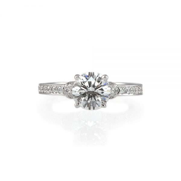 Hailey Solitaire Diamond Band Engagement Ring-0