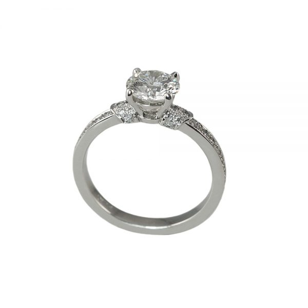 Hailey Solitaire Diamond Band Engagement Ring-1709