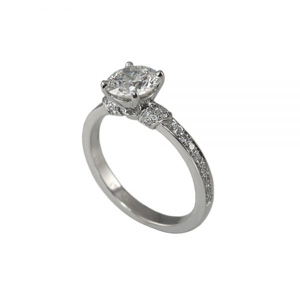 Hailey Solitaire Diamond Band Engagement Ring-1710