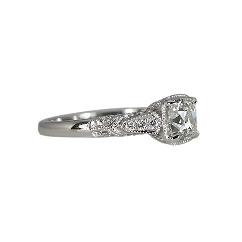 Platinum Antique Look Engagement Ring