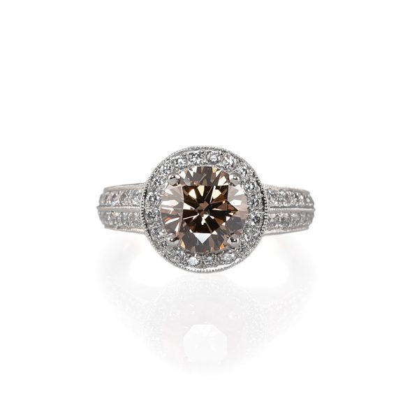 Alyce Cognac Diamond And Halo Engagement Ring-0