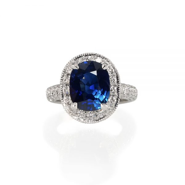 Eliza Sapphire And Diamond Halo Engagement Ring-0