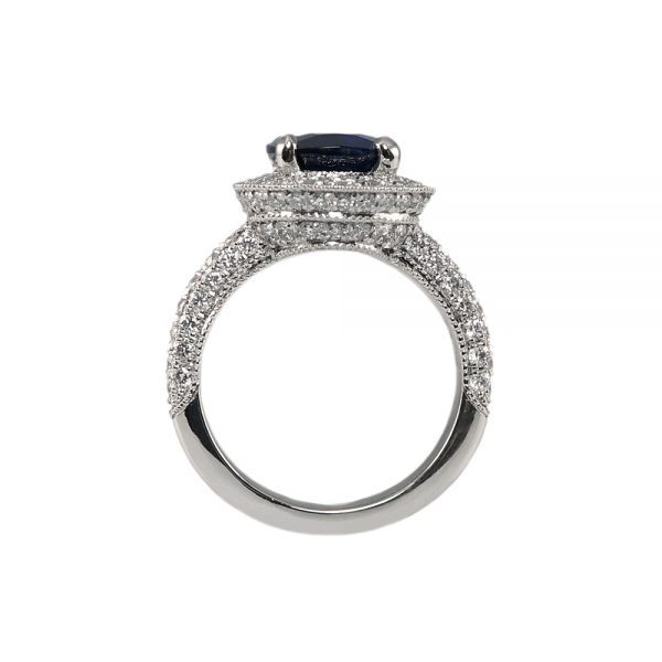 Eliza Sapphire And Diamond Halo Engagement Ring-1743