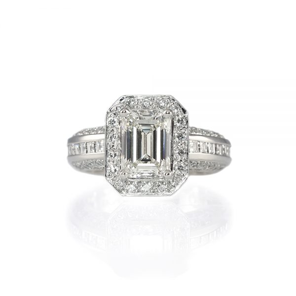 Huong Emerald Cut Diamond Halo Engagement Ring-0