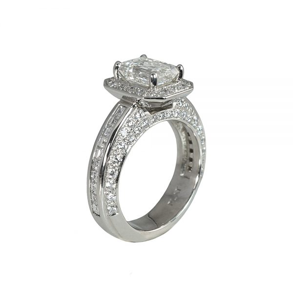 Huong Emerald Cut Diamond Halo Engagement Ring-1756