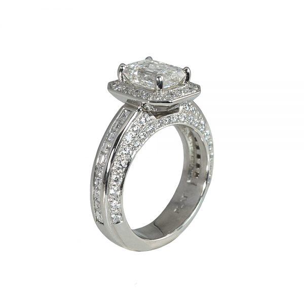 Huong Emerald Cut Diamond Halo Engagement Ring-1756