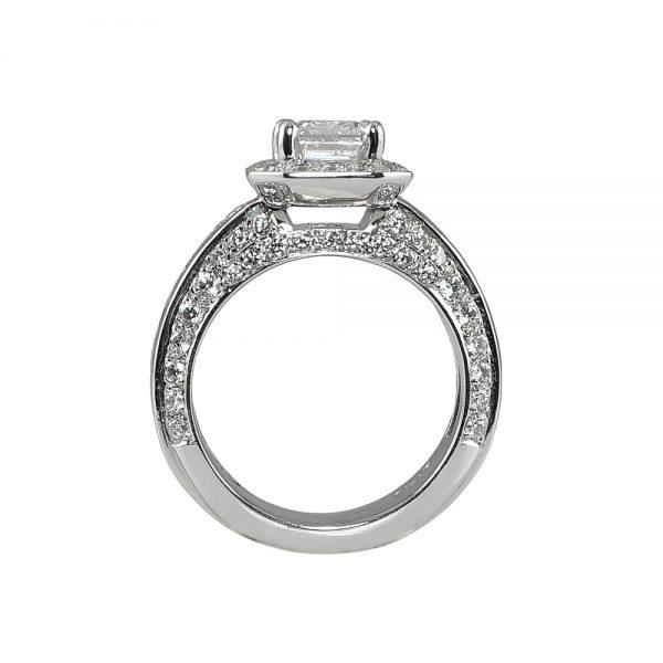 Huong Emerald Cut Diamond Halo Engagement Ring-1755