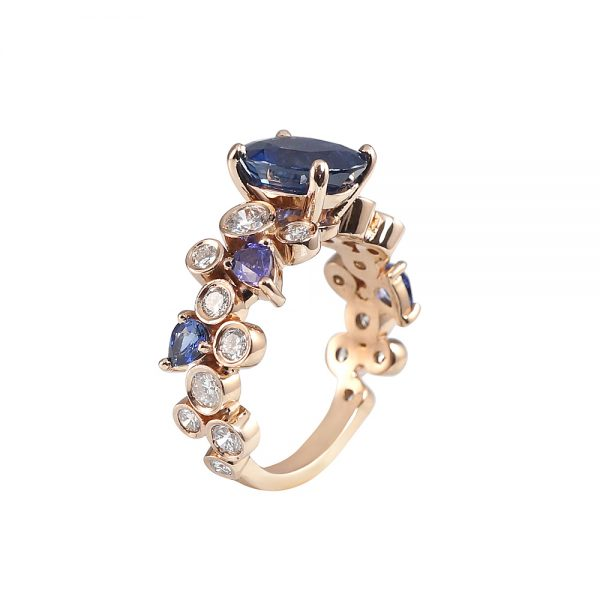 Linda Sapphire And Diamond Bubbles Ring-1805