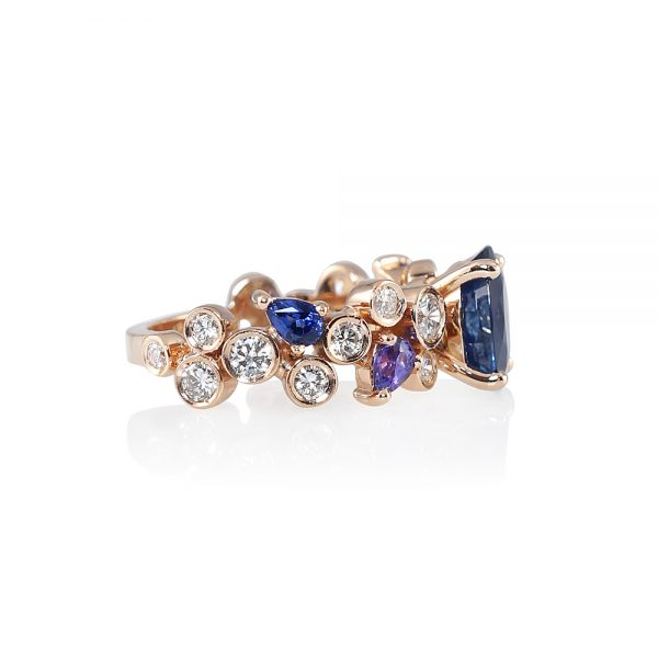 Linda Sapphire And Diamond Bubbles Ring-1804