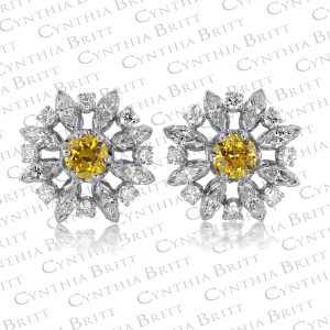 Snowflake Antique Cut diamond Earrings-0