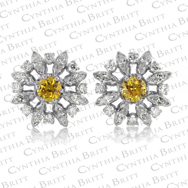 Snowflake Antique Cut diamond Earrings-0