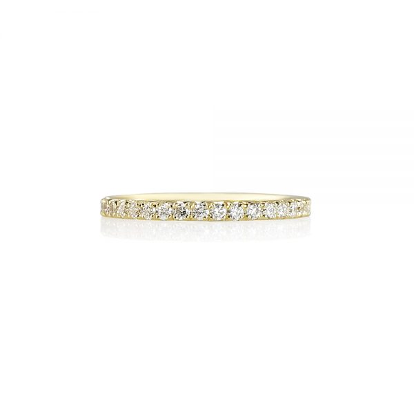 French Set Yellow Gold Diamond Wedding Band-0