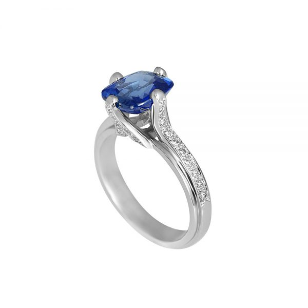 Jennifer Sapphire And Diamond Ring-1769
