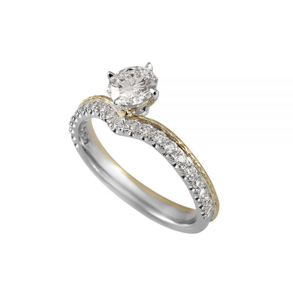 Leslie 88 Cut Diamond Two Tone Engagement Ring-1984