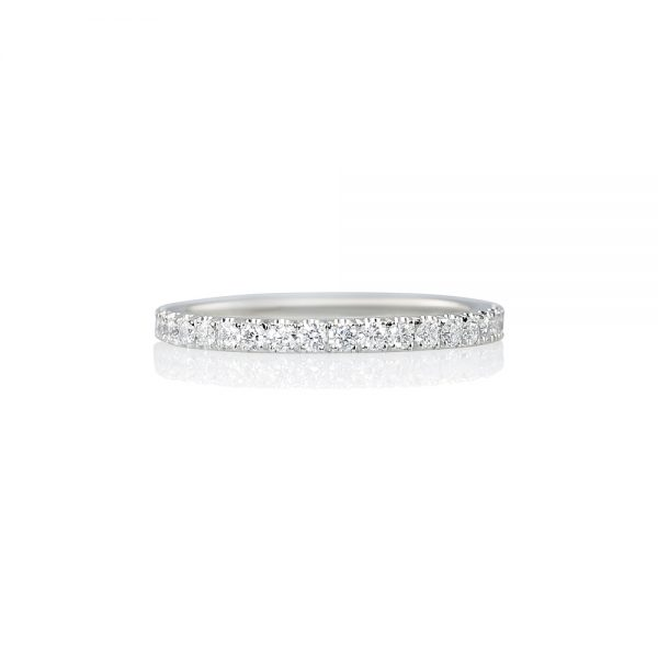 Thin Platinum Diamond Wedding Band-0