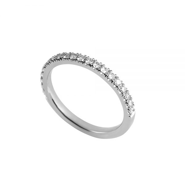 Thin Platinum Diamond Wedding Band-1782