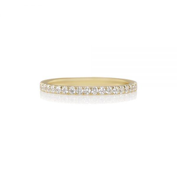Thin Yellow Gold Diamond Wedding Band-0