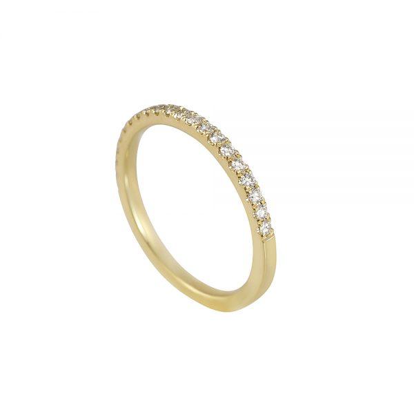 Thin Yellow Gold Diamond Wedding Band-1780