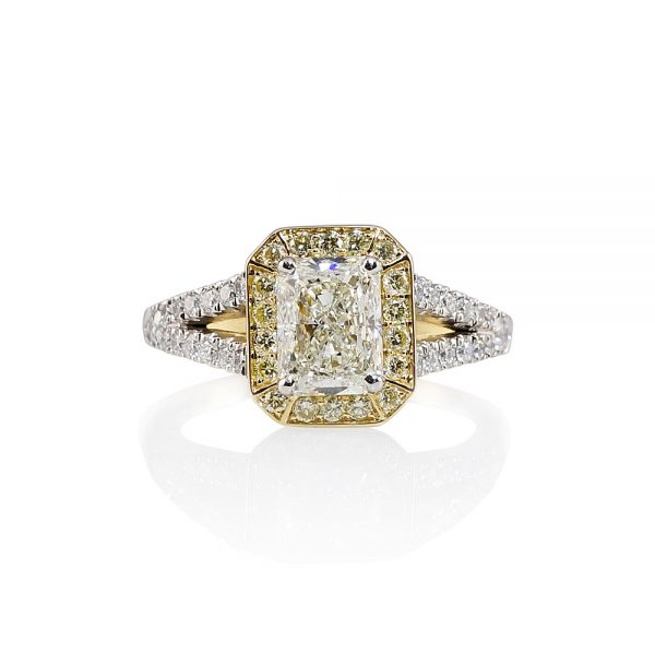 Chelsea Radiant Cut Diamond Two Tone Engagement Ring-0