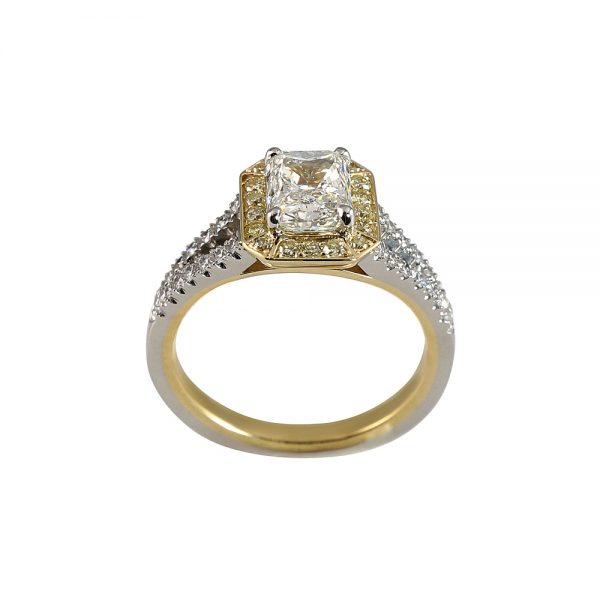Chelsea Radiant Cut Diamond Two Tone Engagement Ring-1800