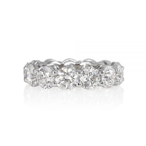 Lara Round Brilliant Cut Platinum and Diamond Eternity Wedding Band-0