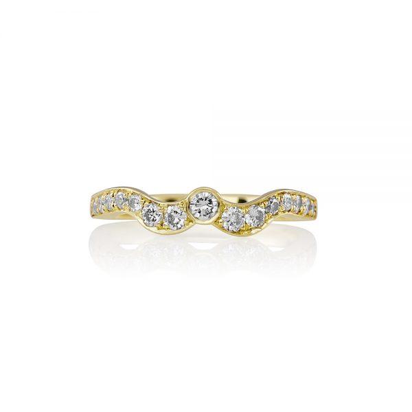Sarah Green Gold Curved Diamond Wedding Band-0