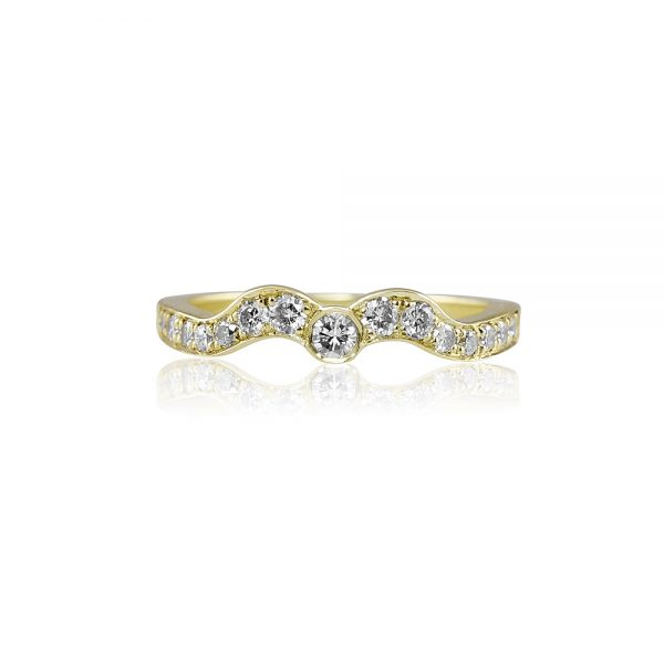 Sarah Green Gold Curved Diamond Wedding Band-1813