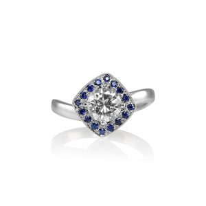 Alanna Diamond And Sapphire Halo Wave Engagement RIng-0