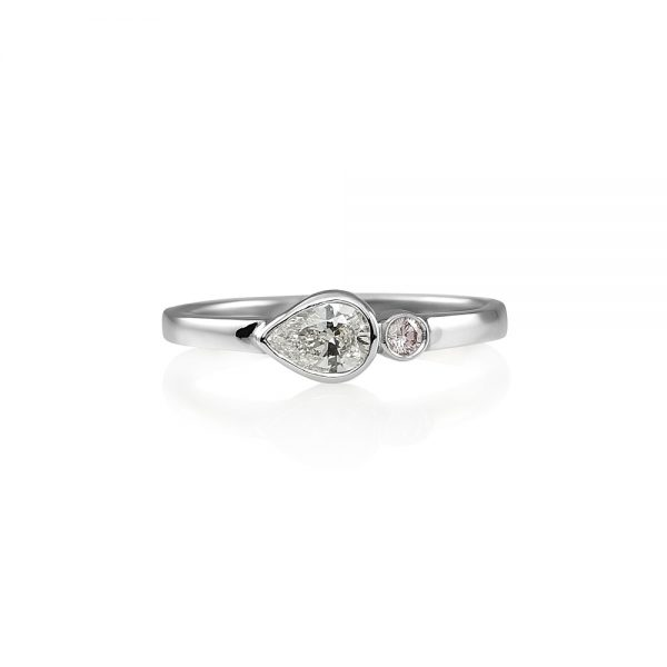 Lauren Pink Diamond And Pear Shape Diamond Ring-0