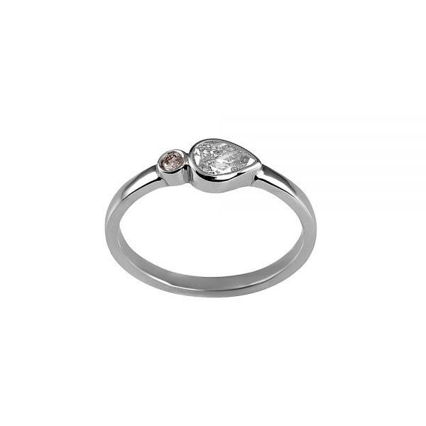Lauren Pink Diamond And Pear Shape Diamond Ring-1828