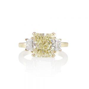 Catherina Fancy Yellow Diamond Three Stone Engagement Ring-0