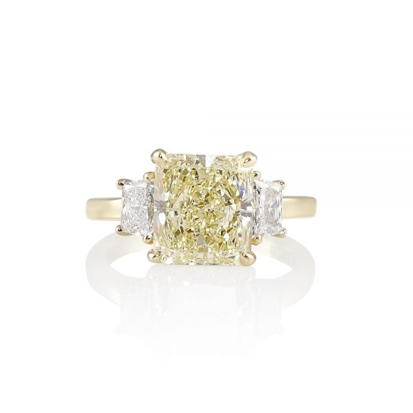 Catherina Fancy Yellow Diamond Three Stone Engagement Ring-0