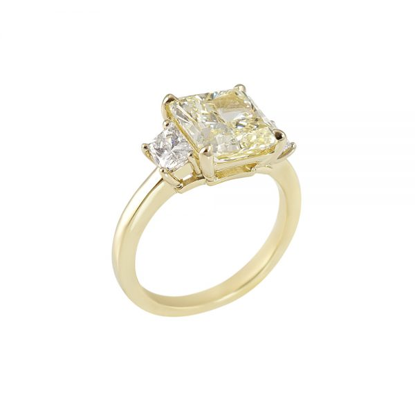 Catherina Fancy Yellow Diamond Three Stone Engagement Ring-2035