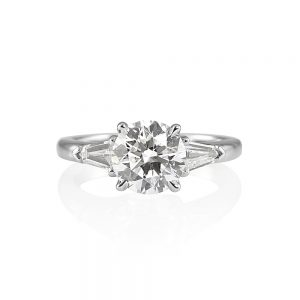 Jessica Round and Bullet Cut Three Stone Engagement Ring-0