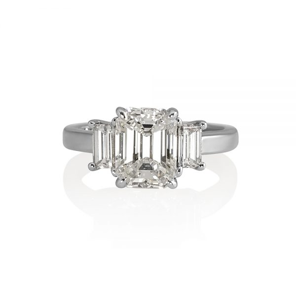 Carol Emerald Cut Three Stone Engagement Ring-0