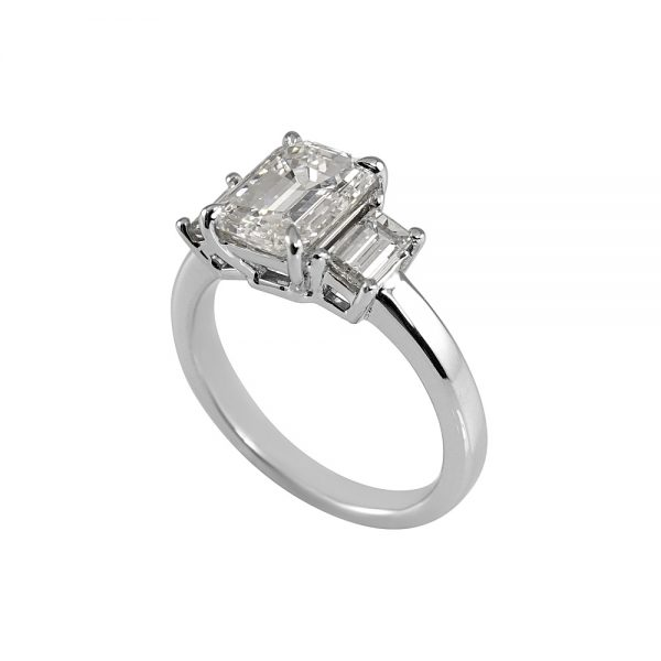 Carol Emerald Cut Three Stone Engagement Ring-1857