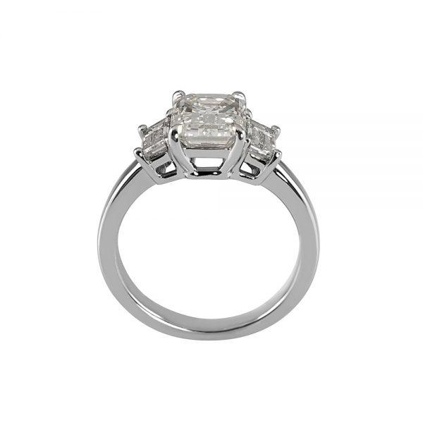 Carol Emerald Cut Three Stone Engagement Ring-1858