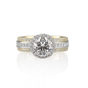 Lori Two Tone Engagement Ring with Diamond Collar-0