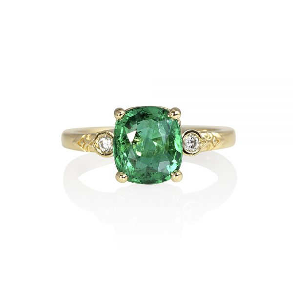 Mariel Emerald and Diamond Engagement Ring-0