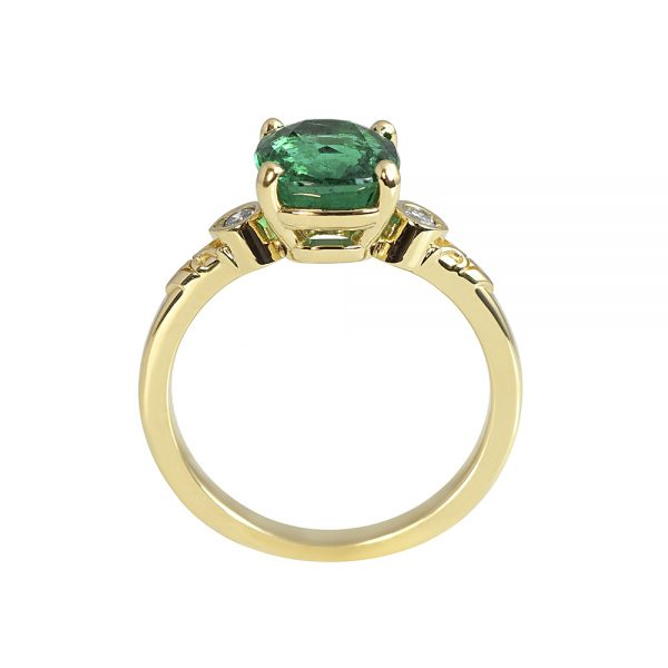 Mariel Emerald and Diamond Engagement Ring-1860