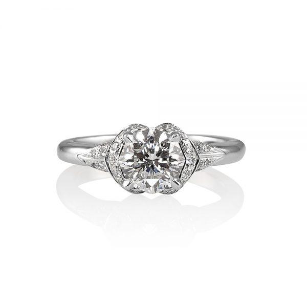 Andi Flower Petal Diamond Engagement Ring -0