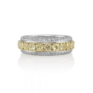 Andrea Fancy Yellow Diamond Two Tone Band Ring-0