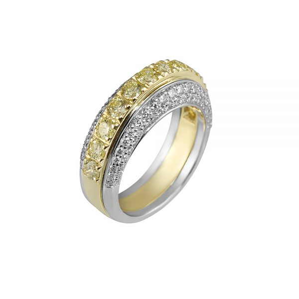 Andrea Fancy Yellow Diamond Two Tone Band Ring-1905